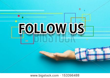 Follow Us Concept With Hand