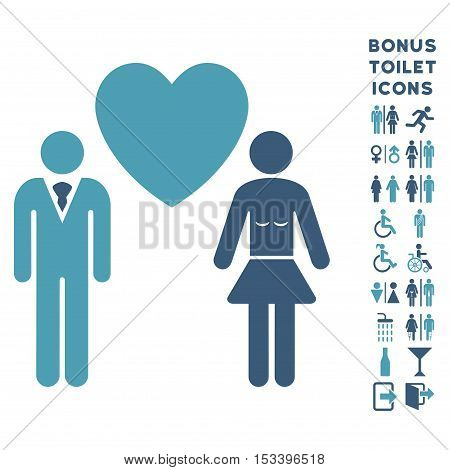 Love Persons icon and bonus gentleman and female WC symbols. Vector illustration style is flat iconic bicolor symbols, cyan and blue colors, white background.