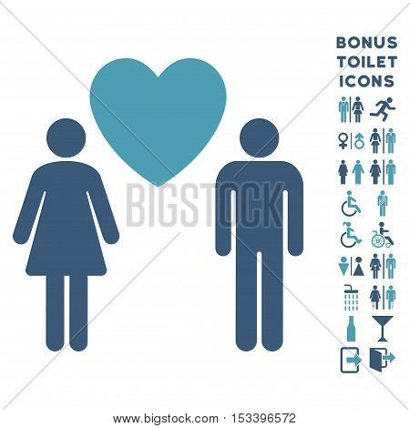 Love Persons icon and bonus gentleman and female restroom symbols. Vector illustration style is flat iconic bicolor symbols, cyan and blue colors, white background.