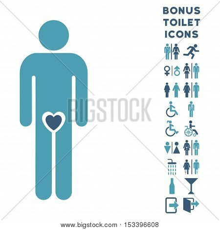 Lover Guy icon and bonus man and female WC symbols. Vector illustration style is flat iconic bicolor symbols, cyan and blue colors, white background.