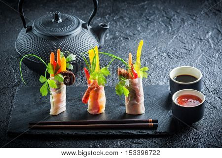 Fresh Spring Rolls With Vegetables And Seafood