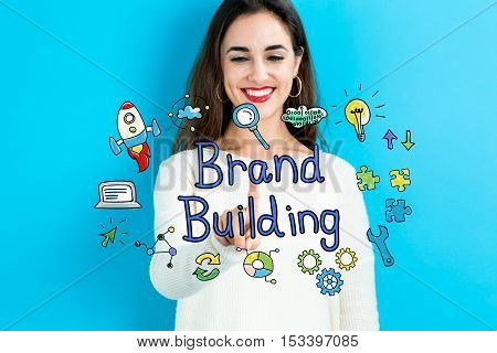 Brand Building Concept With Young Woman