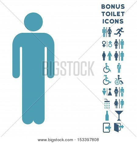 Man icon and bonus gentleman and woman toilet symbols. Vector illustration style is flat iconic bicolor symbols, cyan and blue colors, white background.