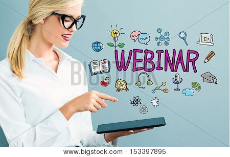 Webinar Text With Business Woman