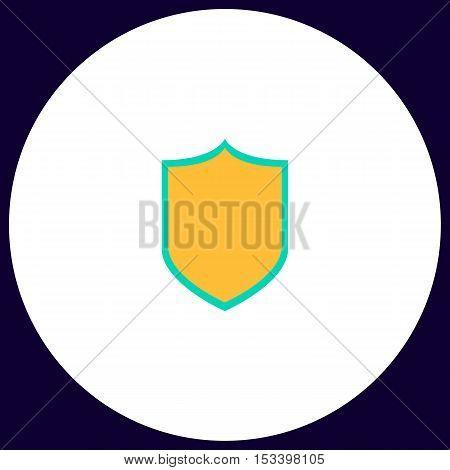 Shield Simple vector button. Illustration symbol. Color flat icon