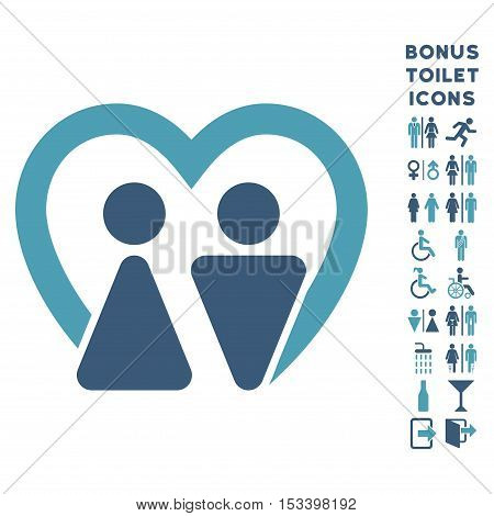 Marriage icon and bonus male and female WC symbols. Vector illustration style is flat iconic bicolor symbols, cyan and blue colors, white background.