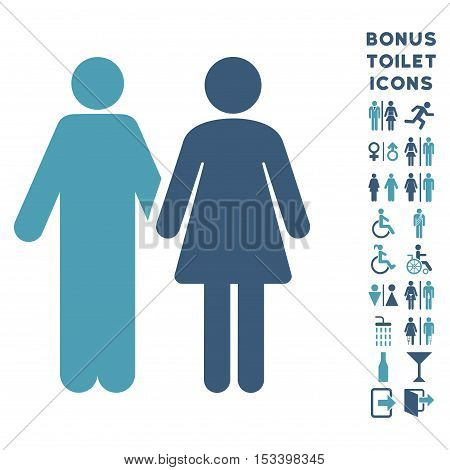 Married Couple icon and bonus male and woman toilet symbols. Vector illustration style is flat iconic bicolor symbols, cyan and blue colors, white background.