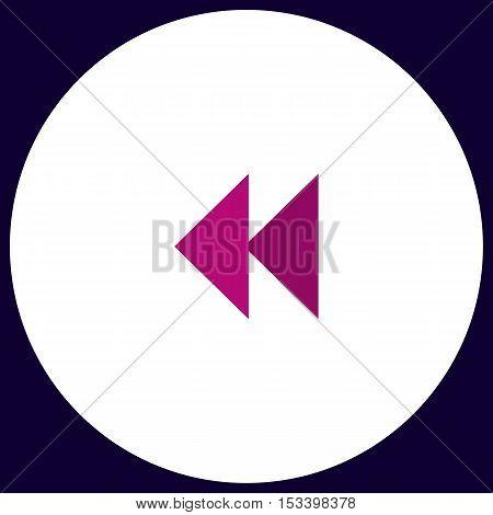 rewind  Simple vector button. Illustration symbol. Color flat icon