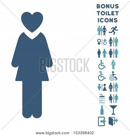 Mistress icon and bonus male and lady WC symbols. Vector illustration style is flat iconic bicolor symbols, cyan and blue colors, white background.