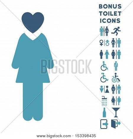 Mistress icon and bonus gentleman and lady toilet symbols. Vector illustration style is flat iconic bicolor symbols, cyan and blue colors, white background.