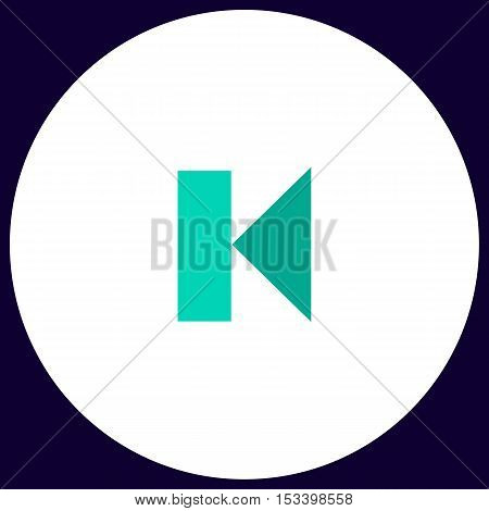 Back Track linear button Simple vector button. Illustration symbol. Color flat icon