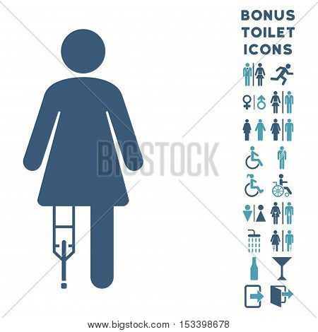 Patient Woman icon and bonus male and woman restroom symbols. Vector illustration style is flat iconic bicolor symbols, cyan and blue colors, white background.