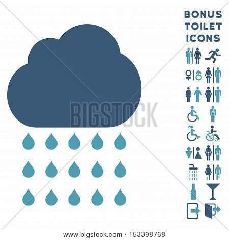 Rain Cloud icon and bonus male and woman restroom symbols. Vector illustration style is flat iconic bicolor symbols, cyan and blue colors, white background.