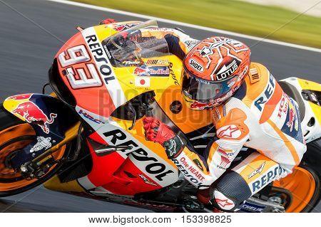 MELBOURNE AUSTRALIA – OCTOBER 22: Marc Marquez (ESP) riding the #93 Repsol Honda Team's Honda during the 2016 Michelin Australian Motorcycle Grand Prix at 2106 Michelin Australian Motorcycle Grand Prix Australia on October 21 2016.