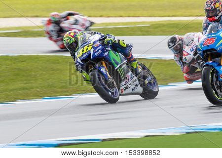 MELBOURNE AUSTRALIA – OCTOBER 22: Valentino Rossi (ITA) riding the #46 Movistar Yamaha MotoGP's Yamaha during the 2016 Michelin Australian Motorcycle Grand Prix at 2106 Michelin Australian Motorcycle Grand Prix Australia on October 21 2016.