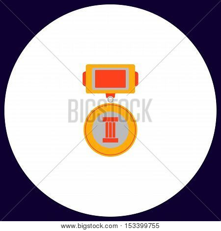 Medal Simple vector button. Illustration symbol. Color flat icon