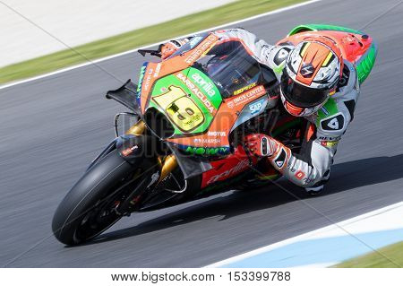 MELBOURNE AUSTRALIA – OCTOBER 23: Alvaro Bautista (ESP) riding the #19 Aprilia Racing Teams Aprilia during the 2016 Michelin Australian Motorcycle Grand Prix at 2106 Michelin Australian Motorcycle Grand Prix Australia on October 23 2016.