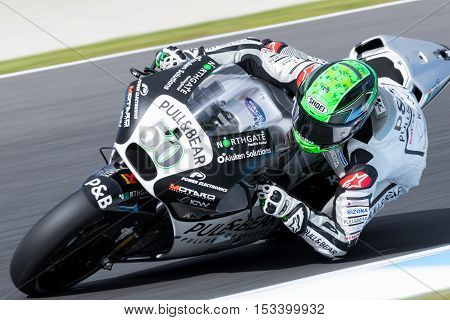 MELBOURNE AUSTRALIA – OCTOBER 23: Eugene Laverty (IRL) riding the #50 Aspar MotoGP TEAM'S Ducati during the 2016 Michelin Australian Motorcycle Grand Prix at 2106 Michelin Australian Motorcycle Grand Prix Australia on October 23 2016.