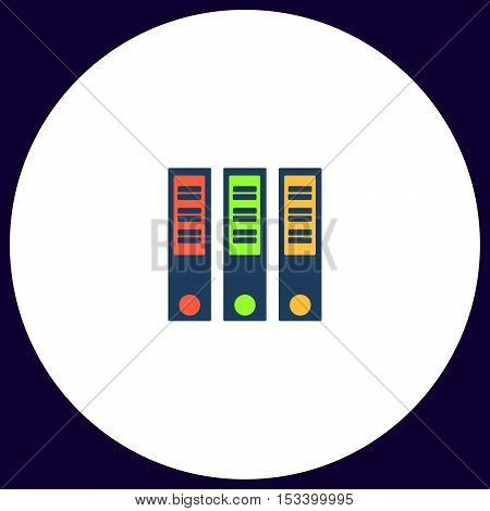 Binders Simple vector button. Illustration symbol. Color flat icon