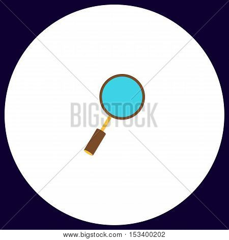 Loupe  Simple vector button. Illustration symbol. Color flat icon