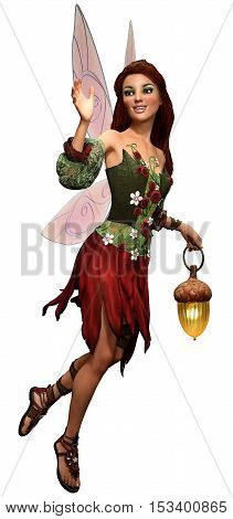 Fairy in red with a lantern 3D illustration