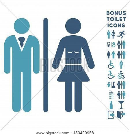 Toilet Persons icon and bonus gentleman and woman restroom symbols. Vector illustration style is flat iconic bicolor symbols, cyan and blue colors, white background.
