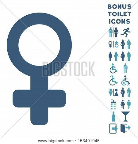 Venus Symbol icon and bonus male and lady restroom symbols. Vector illustration style is flat iconic bicolor symbols, cyan and blue colors, white background.