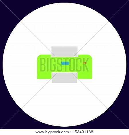 Print Simple vector button. Illustration symbol. Color flat icon