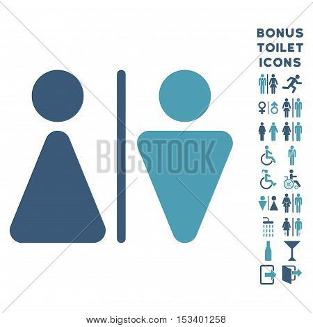 WC Persons icon and bonus male and female lavatory symbols. Vector illustration style is flat iconic bicolor symbols, cyan and blue colors, white background.
