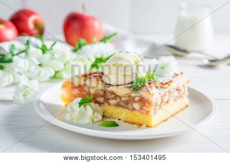Homemade Apple Pie And Ice Cream With Mint Leaves