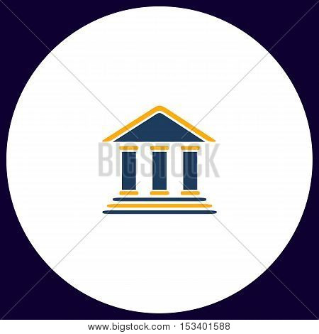 bank Simple vector button. Illustration symbol. Color flat icon