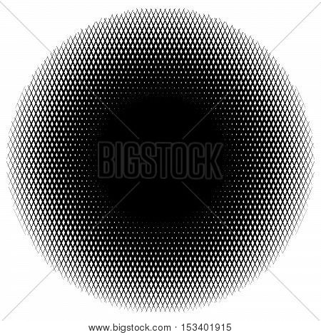 Halftone Circle Element Of Lines Forming A Grid. Monochrome Halftone Pattern.
