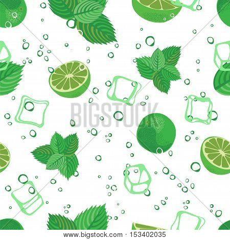 Mojito seamless pattern. Mojito green mint and lime vector background. Mojito lemonade pattern on white background..