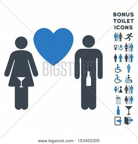 Drunky Love Pair icon and bonus male and female toilet symbols. Vector illustration style is flat iconic bicolor symbols, smooth blue colors, white background.