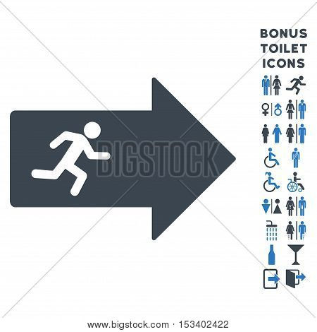 Exit Arrow icon and bonus male and woman toilet symbols. Vector illustration style is flat iconic bicolor symbols, smooth blue colors, white background.