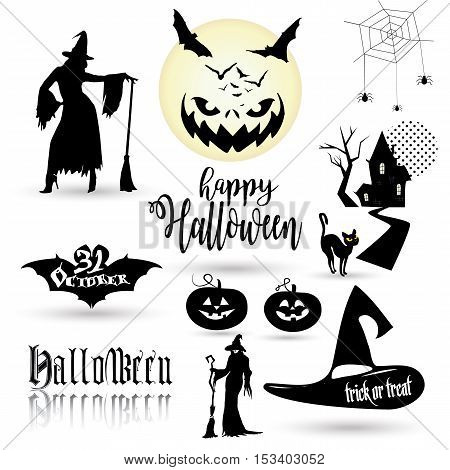 Halloween. Halloween illustration with Halloween pumpkin, bat, trees, House, moon, witch woman for Halloween Holiday. Halloween Party background, thanksgiving, kids, trick or treat. Happy Halloween.