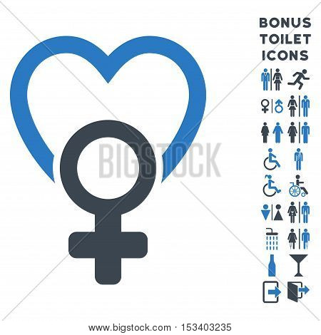 Female Love icon and bonus man and female WC symbols. Vector illustration style is flat iconic bicolor symbols, smooth blue colors, white background.