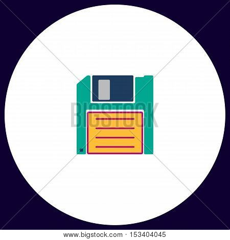 Floppy disk Simple vector button. Illustration symbol. Color flat icon