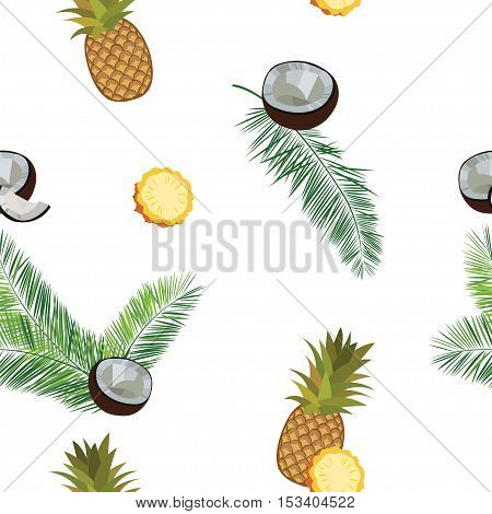 White vector pineapple seamless  pattern. Pineapple, coconut, palm leaves seamless vector pattern on white background. Pineapple illustration with coconut and palm leaves.