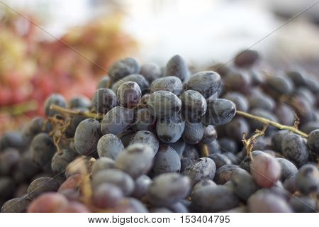 Grapes purple at a farmers market spread out