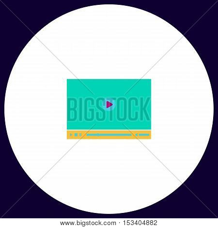 Video player Simple vector button. Illustration symbol. Color flat icon