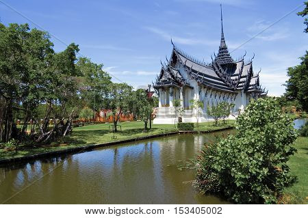 Royal Thai palace of Sanphet Prasart Palace at Muangboran the ancient city,Thailand.