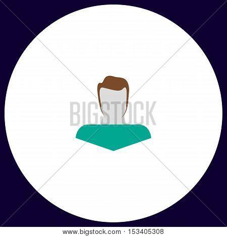 Boy head Simple vector button. Illustration symbol. Color flat icon