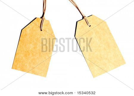 Blank tags isolated on white