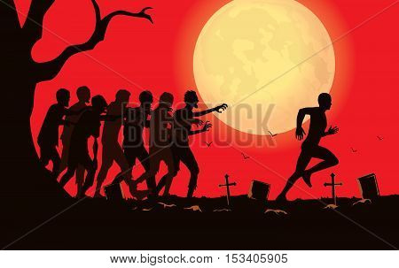 Silhouette vector runner run away from zombie group in the graveyard.