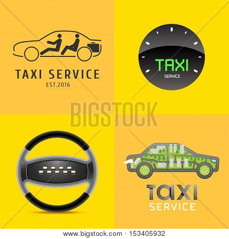 Taxi, cab set of vector logo, icon, symbol. Car hire black and yellow background, badge, app, web emblem. Steering wheel design element