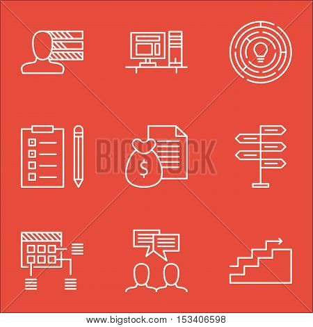 Set Of Project Management Icons On Opportunity, Discussion And Personal Skills Topics. Editable Vect