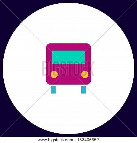 Bus Simple vector button. Illustration symbol. Color flat icon