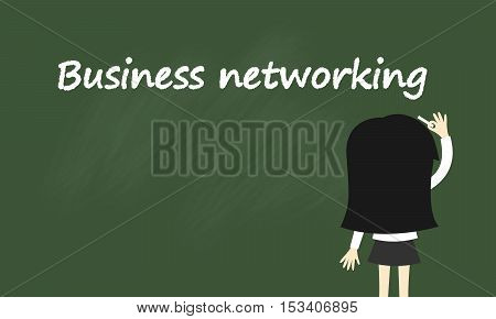 Business concept, Business woman is writing about business networking. Vector illustration.