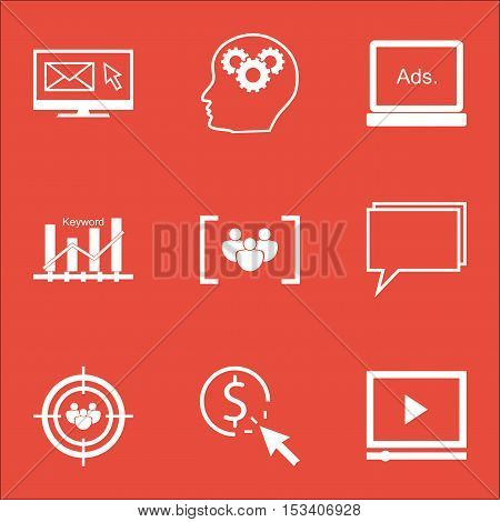 Set Of Seo Icons On Video Player, Digital Media And Questionnaire Topics. Editable Vector Illustrati